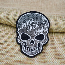 skull patches wholesale UK - 10PCS skull embroidery patches for clothing iron patch for clothes applique sewing accessories stickers badge on clothes iron on patches DIY