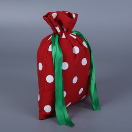 shop for beds 2019 - Bundle Pocket Printing Handbag Red Cotton Canvas Round Dot Drawstring Bag For Shopping Travel Storage Articles Portable
