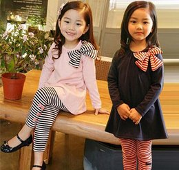 $enCountryForm.capitalKeyWord Canada - 2016 Children 2pc suit Set Kids Suit Outfits baby girls autumn long sleeve bow tops shirts with girls stripe leggings pants Children Clothes