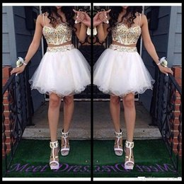 Dreses De Fête À Bas Prix Pas Cher-New Crystal Two Pieces Homecoming Dreses 2016 Sweetheart Major Beading Tulle Short Luxe Sexy Prom Party Cocktail Robes Cheap Custom