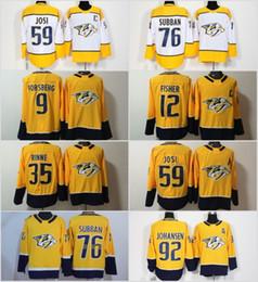 d640d849e 2019 Season Nashville Predators jersey 9 Forsberg 12 Mike Fisher 35 Pekka  Rinne 59 Roman Josi 76 PK Subban 92 Ryan Johansen Hockey Jerseys