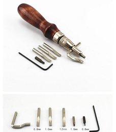 Discount stitching tools - Arts Crafts 5 in1 DIY Leathercraft Adjustable Pro Stitching Groover Crease Leather Tools Craft Tool Leather Edge Stitchi