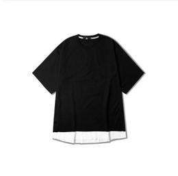 9f863377d69 High Street Summer Fashion Tops Tees Hip Hop Men Short Sleeve O Neck T-shirt  Arc Cut Patchwork Split Swag Kanye T Shist