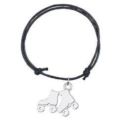 Handgemachte justierbare Wachsschnur-Armband-Armband-Verbindungs-Silber überzogene Rollschuh-Sport-Schuh-Charme-Armband für personifizierten Schmuck