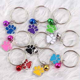 $enCountryForm.capitalKeyWord NZ - Mixed Enamel Dog Paw Print Bell Key Chains Vintage Silver Charms Keychain Ring For Keys Car Bag Key Ring Chains Handbag Gift Accessories