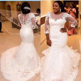 African Plus Size Wedding Dresses Jewel Sheer Neckline Lace Appliques 3 4 Long Sleeves Mermaid