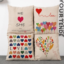 Valentine Pillows Gift Canada - 45cm Valentines Gift Love heart Cotton Linen Fabric Waist Pillow 18inch Fashion New Home Gift Coffeehouse Decoration Sofa Car Cushion