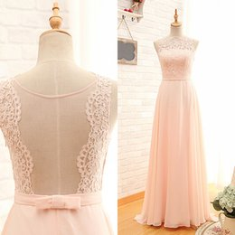 Robe De Bal À Bas Prix Pas Cher-Cheap Prom Dresses A Line Sheer Jewel Neck Lace Appliques Top sans manches Illusion Back Blush Pink Chiffon Prom Dress Evening Party Gowns