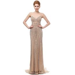 b40126872 LX116 Robe De Soiree Glitter Vestidos de noche con cristales Tallas grandes  Vestidos largos de baile Champagne Hermosos vestidos de fiesta de sirena