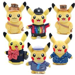 $enCountryForm.capitalKeyWord Canada - Cute Pikachu Plush Doll Toy lovers sweethearts pikachu plush toy in navy  Cheer suit Hawaii clothes New Trendy Gift For kids EMS free
