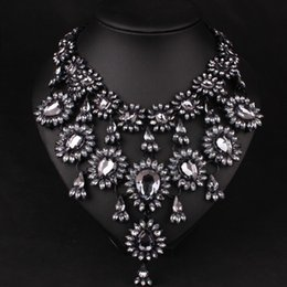 black multi dress Canada - Newest arrived colorful Fashion exaggerated luxury glass crystal diamond multi-layer short clavicle chain for dress accessories free shippi