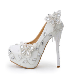 Chinese  Sparkling Butterfly Wedding Shoes Crystal Bride Dress Shoes Elegant Women Dress Pumps Graduation Party Prom Shoes Platform Pump manufacturers