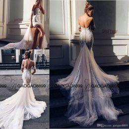 Short wedding dreSS church online shopping - Pallas Couture Mermaid Split Wedding Dresses Champagne Church Train Off shoulder Elegant Country Garden Berta Wedding Gowns