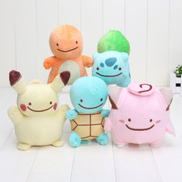 Discount games for kids - 12-18cm Anime Charmander Squirtle Bulbasaur Pikachu Plush Soft Stuffed Doll Toy for kids gift Free Shipping