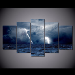 China 5 Pcs Set No Framed canvas clouds waves sea storm lightning ocean Painting Canvas Print room decor print poster picture canvas black art supplier painting sea ocean suppliers