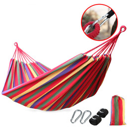 Tanlook Ultralight Camping Hammock Compact 2 Person Cotton Hammocks Multifunctional Hammocks with Hanging Rope Outdoor Leisure Swing Bed on Sale