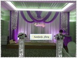 Chinese  Beautiful White wedding backdrops with lavender drapes silver sequin fabric sheer  ice silk wedding curtains 10ft*20ft can customized manufacturers