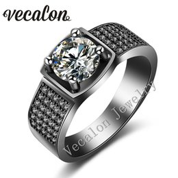 Black Diamond Solitaire Engagement Ring Canada - Vecalon Prong set Solitaire 3ct Simulated diamond Cz Wedding Band Ring for Men 10KT Black Gold Filled male Engagement ring gift
