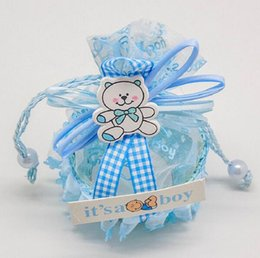 Discount new baby decorations - 48pcs Blue Boy Baby Brithday Gift Bags Candy Box Fruit Basket Baby Shower Favors Boxes and Bags Souvenirs Wedding Decora