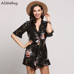 Robe Sexy Élégante Pour Femmes Pas Cher-Elegant Sexy Deep V-Neck Jumpsuits Femmes Half Sleeves Wrap Belt Playsuits Vêtements pour dames Casual Vintage Printed Floral Rompers SVH032886