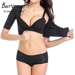 Barato Formadores De Braço Emagrecedor-Burvogue 2017 Hot Shaper Push Up Camisas de manga curta Crop Slimming Arm Training Shaperwear mulheres de moda de uma peça shaper Shapers
