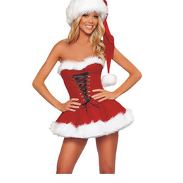 wholesale 2016 new fashion sultry coquette strapless sexy santa christmas costumes red exotic dress women off the shoulder cap w204092 - Exotic Halloween Costume