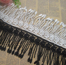 cotton lace trim yard NZ - 15 Yard White Black Flower Tassel Cotton Lace Fabric Trim Ribbon For Apparel Sewing DIY Bridal wedding Doll Cap Hair clip