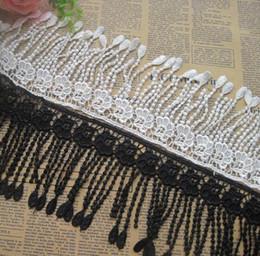 Black White Bedding Wholesale NZ - 15 Yard White Black Flower Tassel Cotton Lace Fabric Trim Ribbon For Apparel Sewing DIY Bridal wedding Doll Cap Hair clip