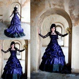 Strapless Satin Short Wedding Dresses Australia - Victorian Gothic Plus Size Long Sleeve Wedding Dresses Sexy Purple and Black Ruffles Satin Vintage Corset Strapless Lace Bridal Gowns