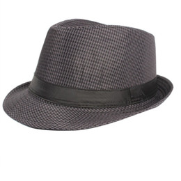 ddc81b4a96fe2 Wholesale-Summer Women Men Wide Brim Sun Hats Fedora Panama Trilby Straw  Hat Sun Beach Cap Travel Sunhat Black 58
