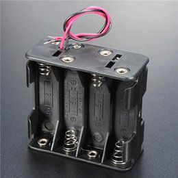Plastic Box Lead Canada - Hot Sale Plastic 12 Volt 12V Battery Clip Slot Storage Holder Box Case 8 AA Batteries Stack 150mm Leads Wire 10pcs lot