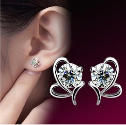 butterfly gift sale Canada - 10pcs lot 925 sterling silver Butterfly heart-shaped Zircon Earrings Korea Europe for Women jewelry Factory price sales Not fade Gift box