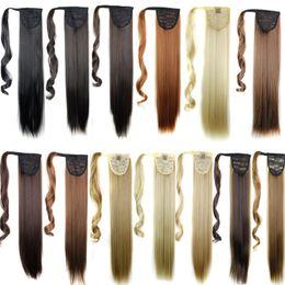 Venta al por mayor de Clip de cola de caballo sintética en las extensiones de cabello Pony Tail 24 pulgadas 120g Piezas de pelo rectas sintéticas Más 13 Colores opcional
