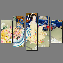 $enCountryForm.capitalKeyWord Australia - Big Size Japan Style Kimono lady Picture decoration Japanese chrysanthemum Flowers Canvas Painting wall Art home decor unframed