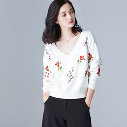$enCountryForm.capitalKeyWord Canada - New 2017 Autumn Winter Womens sweaters Flower Embroidery Ladies Temperament V-neck Loose Sweater Long sleeve Pullover Knitted clothes