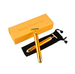 Barato Elevador Pele Facial Rolo-Slimming Face 24k Gold Vibração Facial Energy Beauty Bar Pulse Firming Facial Roller Massager Lift Skin Tightening Wrinkle Stick with box