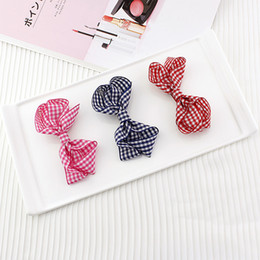 Clip De Ruban À Cheveux Roux Pas Cher-10pcs / lot Fashion Plaid Hair Bow Clips Deluxe Satin Ribbon Bowknot Hair Barrette Rouge Dark Blue Purple Alligator Clip Birthday Gift