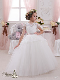 39774bb3d 2016 Mini Brides Dresses with Short Sleeves and Floor Length Lace Appliques  Ball Gown Beautiful Flower Girls Gowns with Beaded Pink Ribbon