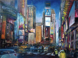 $enCountryForm.capitalKeyWord NZ - Framed Times Square, New Years Day, New York City VIEWS,Pure Hand Painted abstract Art Oil Painting On Canvas.Multi sizes