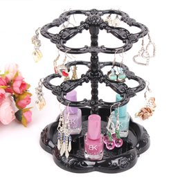Chinese  Hot selling Chic Retro Rose Pattern Earrings Holder Turnable Jewelry Stand Organizer jewelry Storage holder earring display rack manufacturers