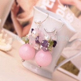 Cheap Pink White Roses NZ - Fancy Style Pink Rose Quartz White Pearl and Amethyst and Olivine Chips Earrings Drop Earrings Cheap Drop Earrings