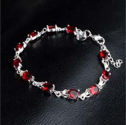 Ruby Bracelet Sterling Silver NZ - New Charm Ruby Bracelet For Women Fashion Bohemian Jewelry Sterling Silver Bangles Zirconia Bracelets For Women