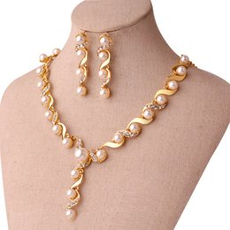 $enCountryForm.capitalKeyWord Australia - Bridal jewelry Pearl Necklace Earring Accessories sets gold with crystal necklace Wedding Jewelry engagement jewelry Hot Sale