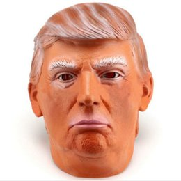 Costumes Donald Pas Cher-Donald Trump Full Head Costume Party Masques Halloween Celebrity Latex Masquerade Carnival Mask Bar Theme Halloween Party Decoration Props