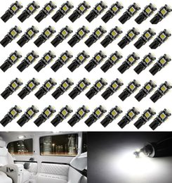 car front smd NZ - 50Pcs White Canbus Error Free Car T10 W5W 194 168 2825 LED 5-smd Wedge Light Bulb