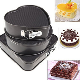 Discount sell tools - 2017 Hot sell Square round heart living bottom cingulate cake mould 3pcs set ECO Friendly not paste Carbon steel Baking