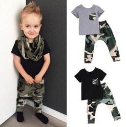 Baby Tshirt Outfit Boys Canada - 2016 hot sale Baby Boys suits summer style Kids tshirt+Long active Pants Camouflage boy girl Outfits Clothes BDU battle fatigues Sets 2Pcs