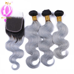Gray weaves online shopping - DOHEROINE Pre Colored Body Wave Human Hair Bundles With Closure Ombre B Gray Color Brazilian Human Hair Bundles With Closure