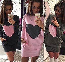 Love stitch cLothing online shopping - Women s Clothing Casual Dresses Love Round Neck Pocket Stitching Package Hip Womens Dresses Woman s Dress DCD