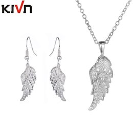 angel wings earrings Canada - KIVN Jewelry Sets CZ Cubic Zirconia Angel Wing Feather Bridal Wedding Earrings Necklaces Jewelry Sets Mothers Birthday Gifts